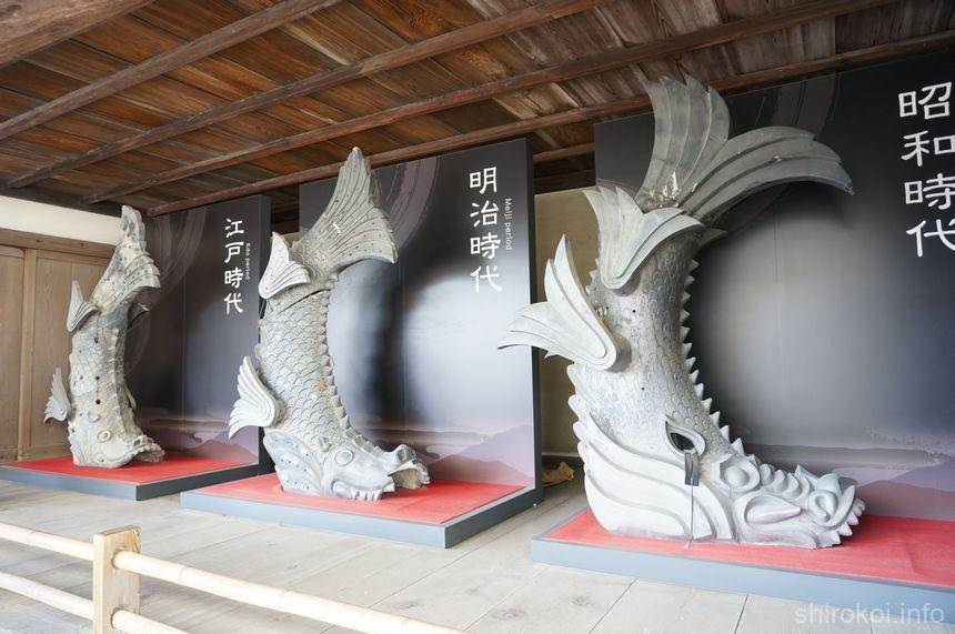 「りの一渡櫓」の外に飾られていた歴代の鯱ほこ