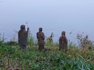 原城 本丸 三体のキリシタン像