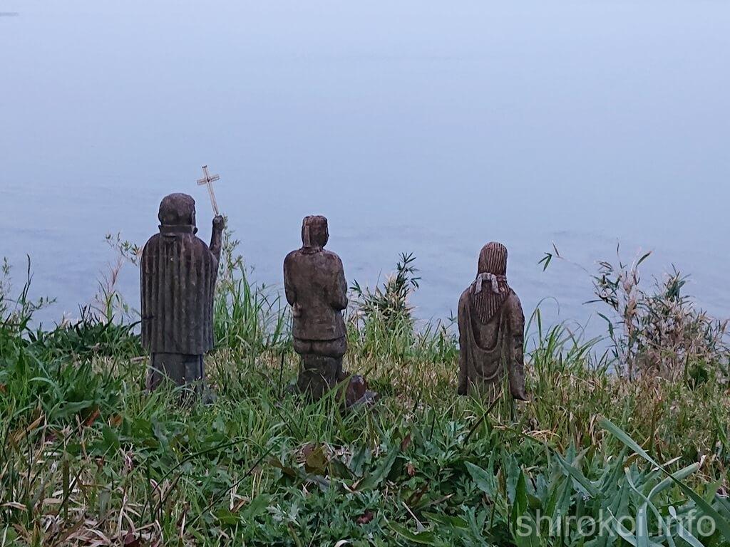 原城 三体のキリシタン像