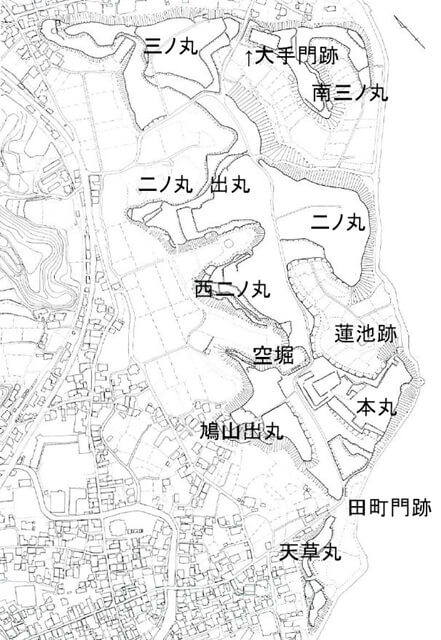 原城 縄張図 長崎県中近世城館跡分布調査報告書2 101-2 原城跡より